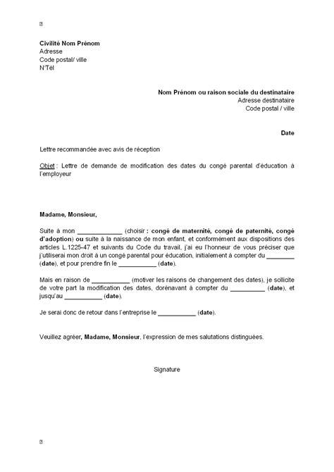 Demande De Congé Parental Lettre Belgique Letter Of Application Modele De Lettre De Diminution Temps Travail