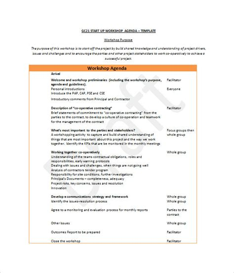 workshop agenda template agenda templates 19 word pdf documents