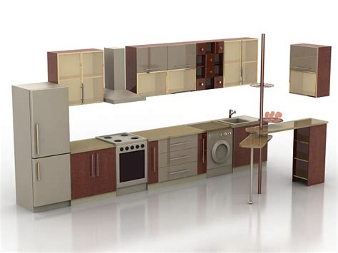 small one wall kitchen free 3d model max obj 3ds fbx stl single wall kitchen with counter 3d model 3ds max files