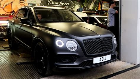 satin black bentley bentley bentayga first edition wrapped in satin black