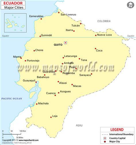 ecuador on map cities in ecuador ecuador city map