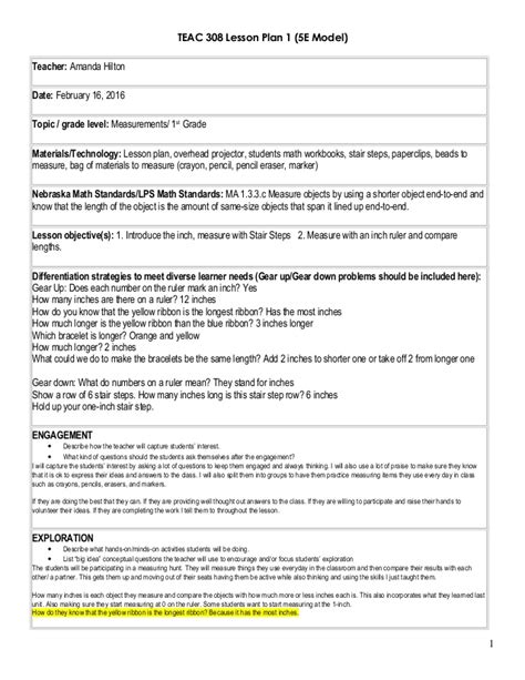 5e lesson plan template math lesson plan 1