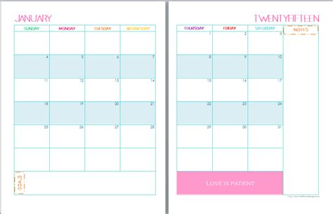 printable planner pages for 2015 12 best images of 2015 planning calendar printable 2 page