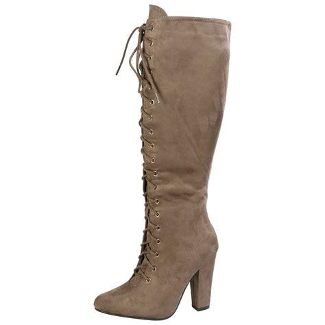 Mid Calf High Heel Boots womens boots knee high mid calf lace up block heel
