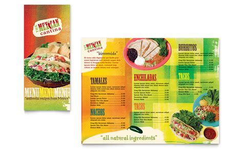 mexican restaurant take out brochure template word