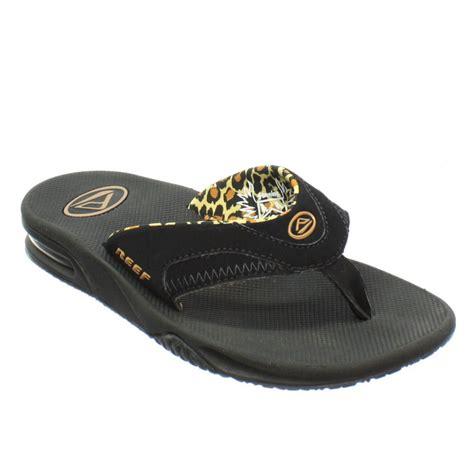 reef fanning flip flops womens womens reef fanning black leopard beach surf sandals flip