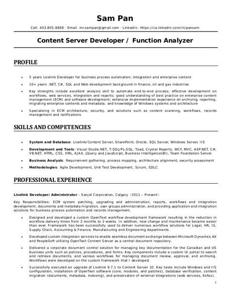resume content server 2015