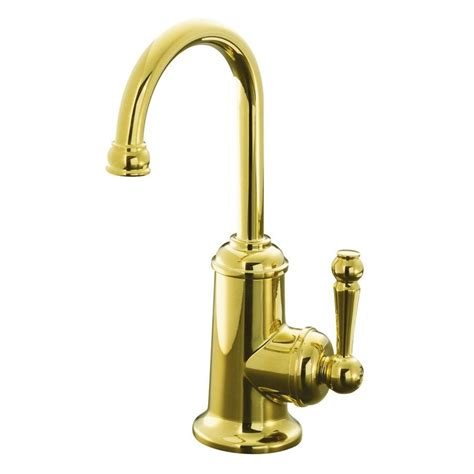 Kohler Brass Kitchen Faucets Shop Kohler Wellspring Vibrant Polished Brass 1 Handle High Arc Kitchen Faucet At Lowes