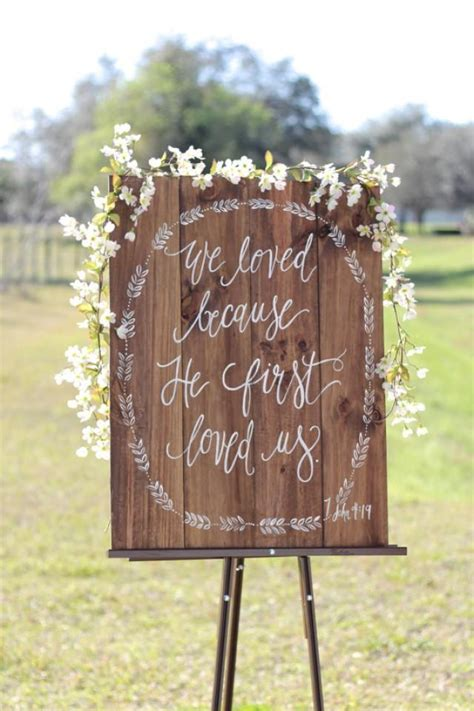 Wedding Themed Bible Verses by Rustic Wooden Wedding Sign We Because Bible