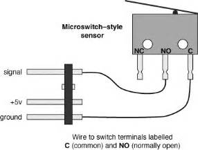 the above diagram shows how to wire a microswitch style sensor to the handy board as indicated