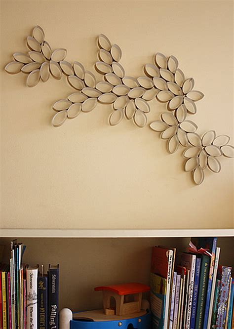 Home Made Wall Decor Diy Project Toilet Paper Roll Wall Art Design Sponge