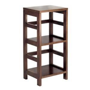 narrow bookcase espresso 2 section narrow storage shelf with baskets by winsome