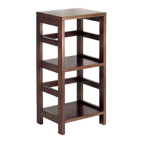 wood storage shelves 2 section narrow storage shelf with baskets by winsome wood espresso finish kitchensource