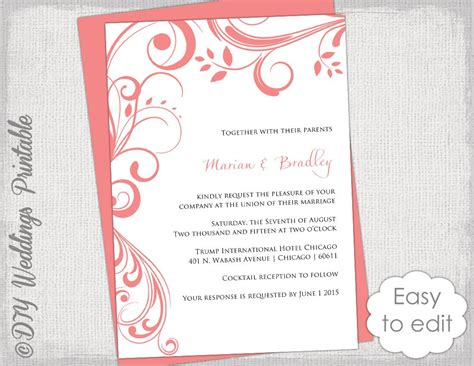 coral wedding invitations coral wedding invitation template scroll