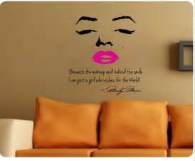marilyn monroe wall decal decor quote face red pink lips life goes on wall art quotes wall stickers wall decals