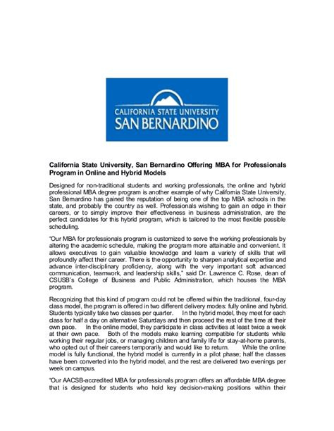 Mba Courses Csusb by California State San Bernardino Offering Mba