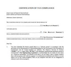 Certification Letter Of Compliance Sample Certificate Of Compliance 12 Documents In Pdf