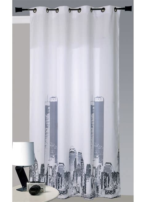 Rideau New York by Rideau En Bachette Imprim 233 New York Blanc Homemaison