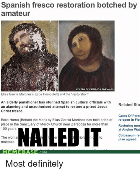 Jesus Fresco Meme - spanish fresco restoration botched by amateur centro de