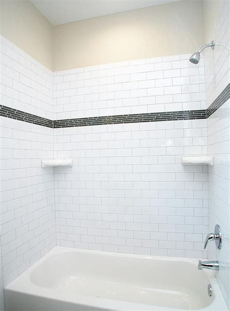Modern Bathroom Tub by A Modern Style Tub With Subway Tile Surround With Glass