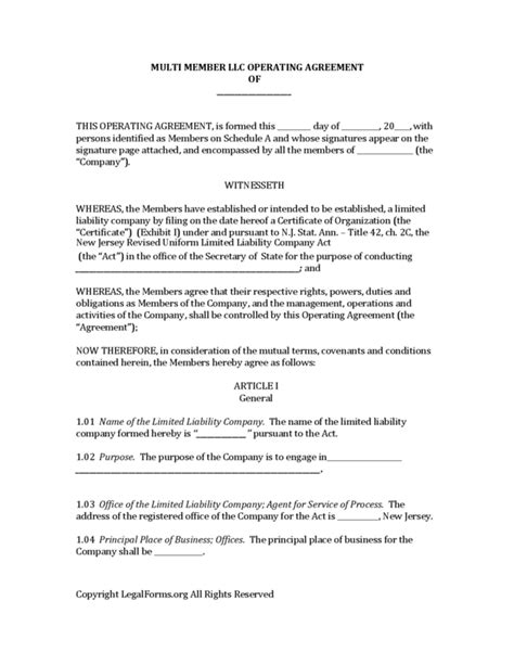 28 single member llc operating agreement short form