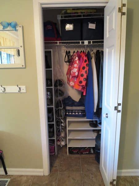 organizing  small entryway closet day