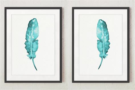 teal wall decor set of 2 feathers wall decor teal print two posters