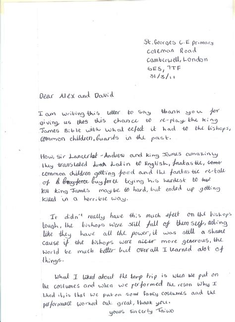 Thank You Letter Format Ks2 Thank You Letters From St Georges School Camberwell Change Arts