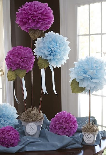 centerpiece tissue paper flowers for a bridal shower