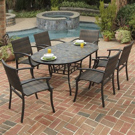 Patio Furniture For Restaurants Shop Home Styles Harbor 7 Slate Patio Dining Set At Lowes