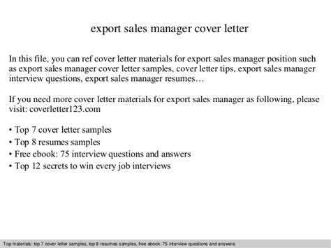 Letter Of Intent Sle For Manager Position Export Sales Manager Cover Letter