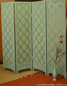 Diy Room Divider Screen by Room Divider Makeover With Hand Stenciling Before And