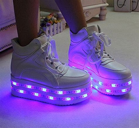 light up shoes size 4 pu leather white high heel led light up platform shoes