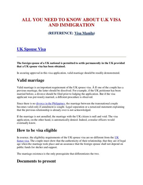 Letter Sle For Spouse Visa All You Need To About Uk Visa And Immigration