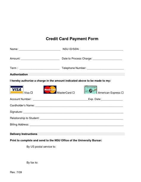 credit card size template for word card credit card payment form