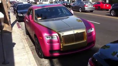 roll royce pink pink and gold rolls royce ghost in beverly hills youtube