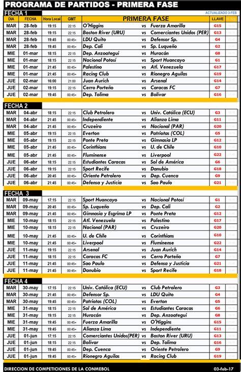 Calendario Copa Libertadores Conmebol Oficializ 243 El Calendario De La Sudamericana