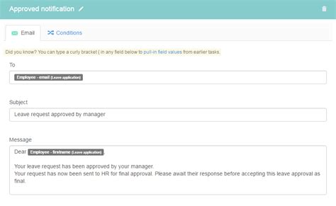 email notification on leave request for leave taskflow kotive