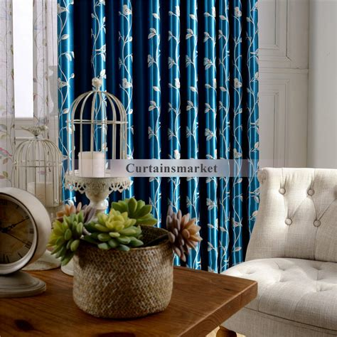 Soundproof Window Curtains Leaf And Birds Scenery Soundproof Window Curtains