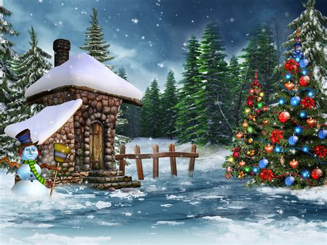 wallpaper new year christmas tree snow snowman balls holidays