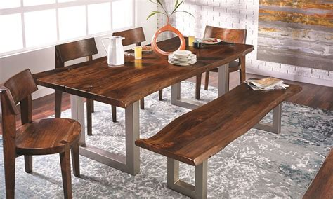 edge dining table 84 inch live edge acacia and steel dining table the dump