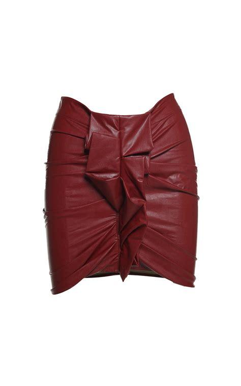 Rok Mini Korea Import Khaki Leather Size L 186396 Zephira Ruffled Faux Leather Mini Skirt Marant 201 Toile