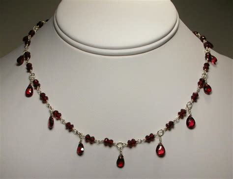 Garnet Necklace Sterling Silver sterling silver garnet necklace with pear drops from