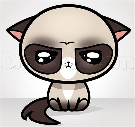 Drawing Kawaii by How To Draw Kawaii Grumpy Cat Step By Step Characters