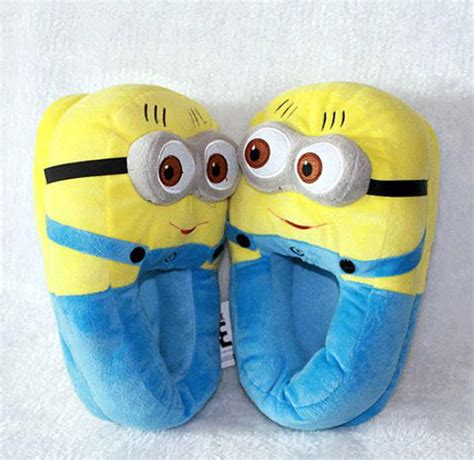 despicable me house slippers despicable me 2 plush stuffed slippers soft toy minion 11 quot 3d eyes adult shoes