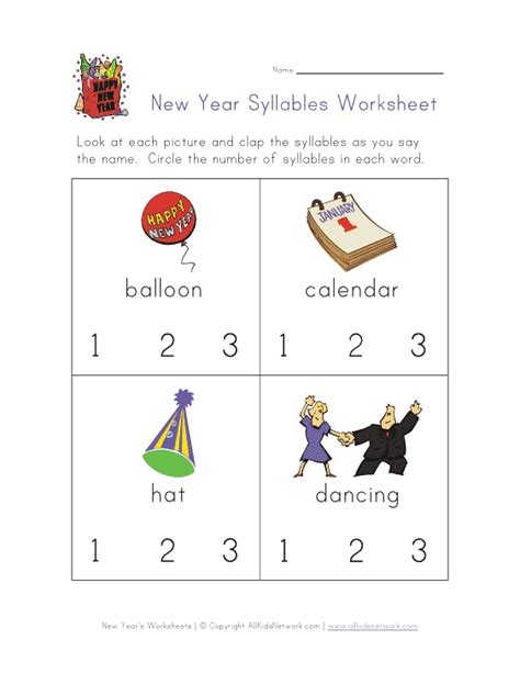 new year counting activities new year s worksheet syllables