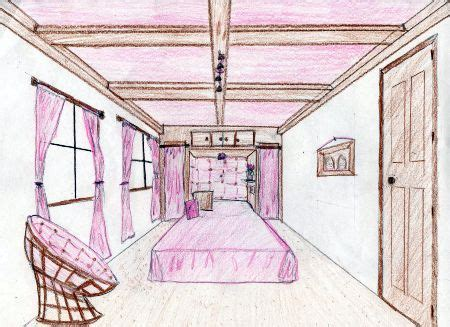 one point perspective bedroom papasan chair perspective drawings dream bedrooms