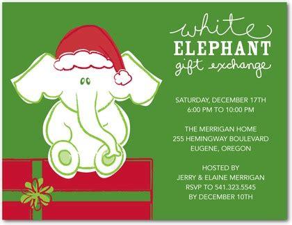 White Elephant Party Invitations Cimvitation White Elephant Invitations Templates
