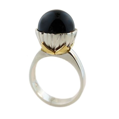 sterling silver 9ct yellow gold black onyx ring