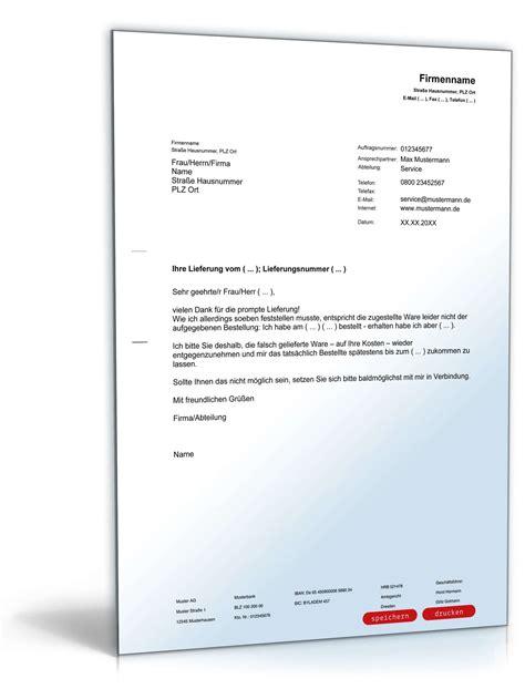 Brief Schreiben Muster Reklamation Reklamation Wegen Falschlieferung Vorlage Zum